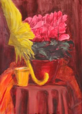 akrüülmaal acrylic painting vaikelu natüürmort still life kollane vihmavari alpikann keiu kuresaar