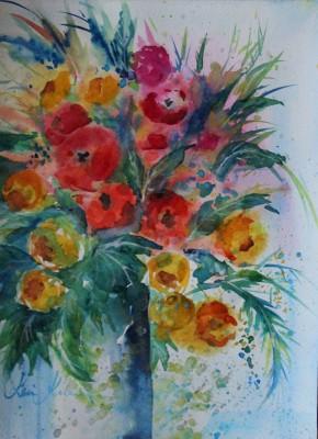 akvarell watercolor lilled floral 9 Keiu Kuresaar