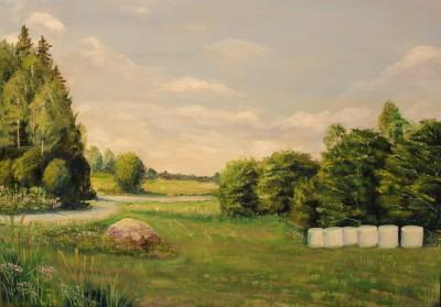 Õlimaal maastik Valingu jõgisoo aila küla kivikurv oil painting 50x70 landscape Keiu Kuresaar