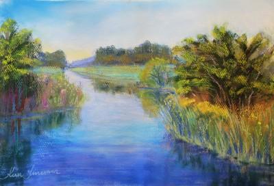 pastel painting landscape maastik pastellmaal Keila jõgi river Keiu Kuresaar
