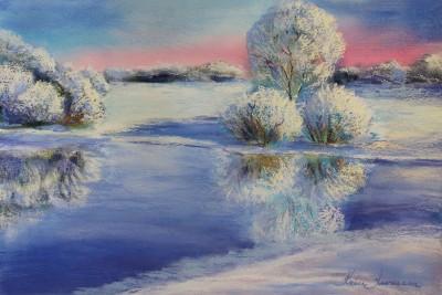 pastel painting landscape maastik pastellmaal Keila jõgi talvel 3 Keiu Kuresaar