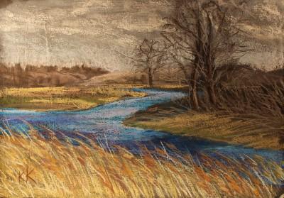pastel painting landscape maastik pastellmaal Valingu Aila Jõgisoo kevad Keiu Kuresaar