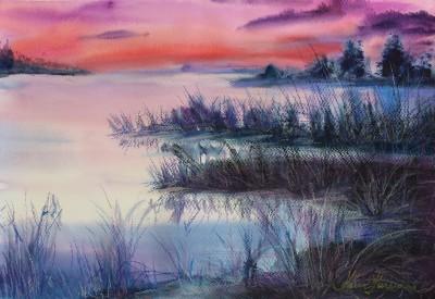 pastel painting landscape maastik pastellmaal raba soojäv marsh Keiu Kuresaar