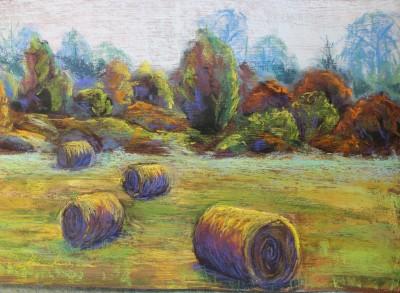 pastel painting landscape pastellmaal hay stacks 2 Keiu Kuresaar