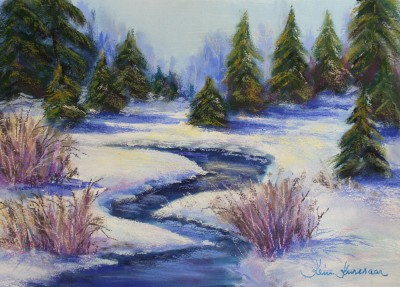 pastel painting pastellmaal oja talvel winter creek 5 Keiu Kuresaar