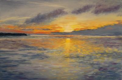 õlimaal maastik oil painting seascape meri Laulasmaa meremõisa päikeseloojak sunset Keiu Kuresaar