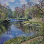 Õlimaal maastik Keila jõgi Jõgisoo Koolmekoht allavoolu river  oil painting landscape Keiu Kuresaar