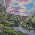 Õlimaal maastik Keila jõgi Jõgisoo Koolmekoht river  oil painting landscape Keiu Kuresaar