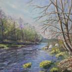 Õlimaal maastik Keila jõgi Jõgisoo river  oil painting landscape Keiu Kuresaar