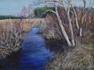 Õlimaal maastik Vääna jõgi river oil painting landscape Keiu Kuresaar