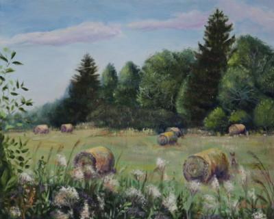 Õlimaal maastik heinapallid hey stack Valingu jõgisoo aila küla oil painting landscape Keiu Kuresaar