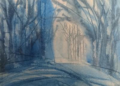 akvarell mets vesivärv maalitud abstraktne keiu kuresaar sinine