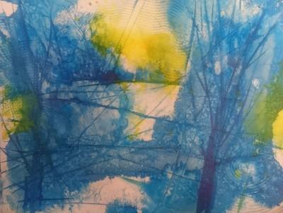 akvarell vesivärv sinine mets abstraktne keiu kuresaar digiprint