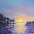 õlimaal maastik oil painting seascape meri Laulasmaa meremõisa päikeseloojak sunset Keiu Kuresaar uuendatud