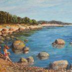 õlimaal maastik oil painting seascape meri Laulasmaa rand Keiu Kuresaar tüdruk