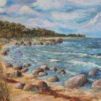 õlimaal maastik oil painting seascape meri tuuline rand Eesti estonia Keiu Kuresaar