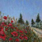 Õlimaal maastik moonipõld moonid oil painting landscape poppies Keiu Kuresaar