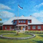 Õlimaal maastik Jõgisoo seltsimaja küla oil painting landscape portree portrait Keiu Kuresaar
